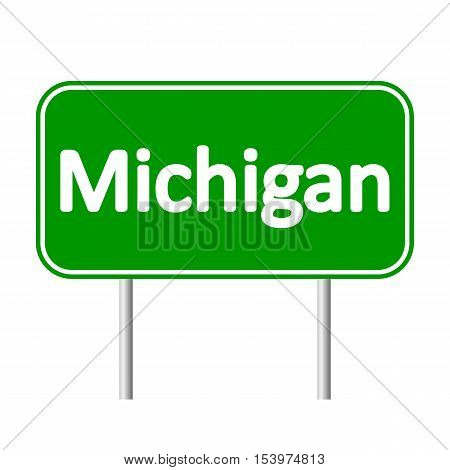 Michigan green road sign isolated on white background