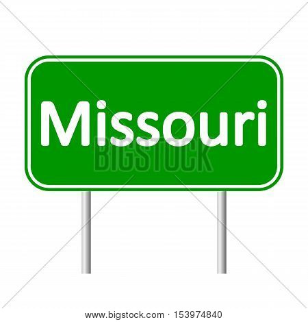 Missouri green road sign isolated on white background