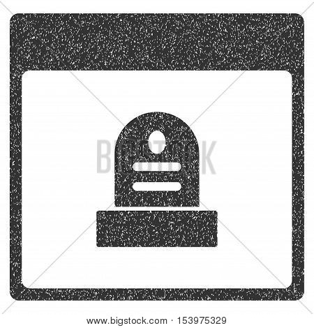 Memorial Tombstone Calendar Page grainy textured icon for overlay watermark stamps. Flat symbol with unclean texture. Dotted glyph gray ink rubber seal stamp with grunge design on a white background.