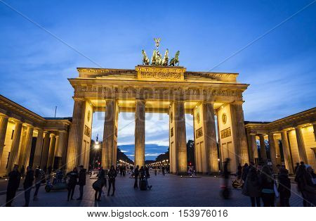 BERLIN, GERMANY - NOVEMBER 8, 2013: Brandenburg Gate (Brandenburger Tor) in Berlin. Brandenburg Gate built between 1788 and 1791 and now is the most famous and well-known landmarks of Germany