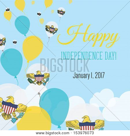 Independence Day Flat Greeting Card. Virgin Islands, U.s. Independence Day. Virgin Islander Flag Bal