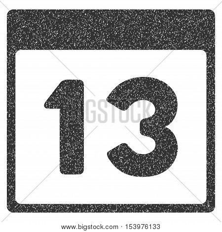 Thirteenth Calendar Page grainy textured icon for overlay watermark stamps. Flat symbol with unclean texture. Dotted glyph gray ink rubber seal stamp with grunge design on a white background.