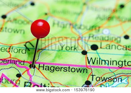 Hagerstown pinned on a map of Maryland, USA