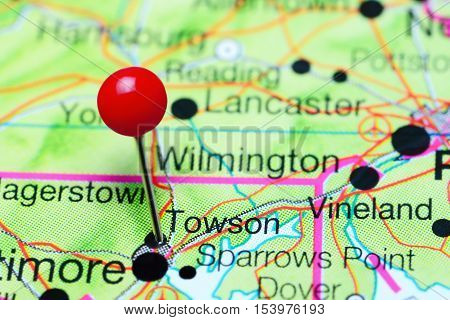 Towson pinned on a map of Maryland, USA