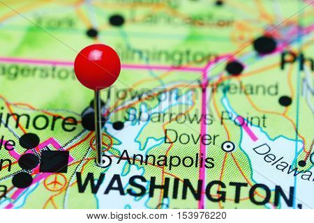 Annapolis pinned on a map of Maryland, USA