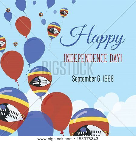 Independence Day Flat Greeting Card. Swaziland Independence Day. Swazi Flag Balloons Patriotic Poste