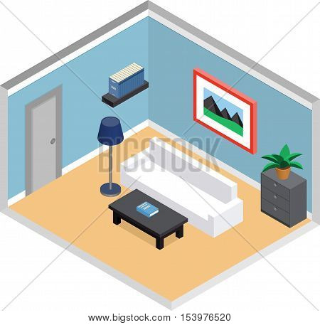 Modern living room design with furniture and door. Interior in isometric style. Vector 3D illustration.
