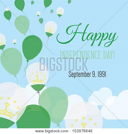 Independence Day Flat Greeting Card. Tajikistan Independence Day. Tadzhik Flag Balloons Patriotic Po