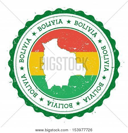 Bolivia Map And Flag In Vintage Rubber Stamp Of State Colours. Grungy Travel Stamp With Map And Flag