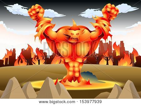illustration of a giant fire monster on flames on nature background