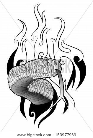illustration of a black and white snake tattoo on fire