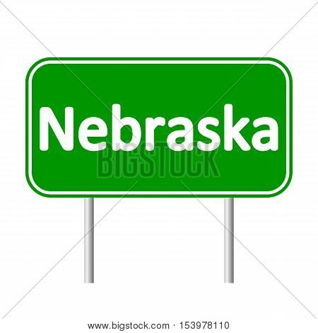 Nebraska green road sign isolated on white background