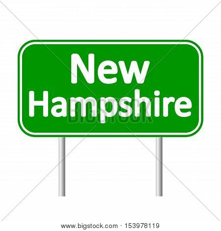 New Hampshire green road sign isolated on white background
