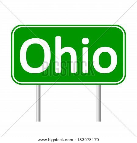Ohio green road sign isolated on white background