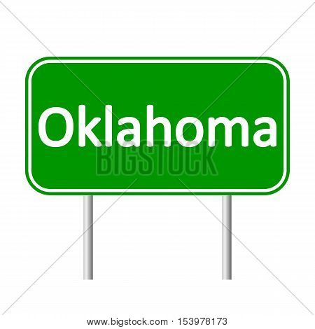 Oklahoma green road sign isolated on white background