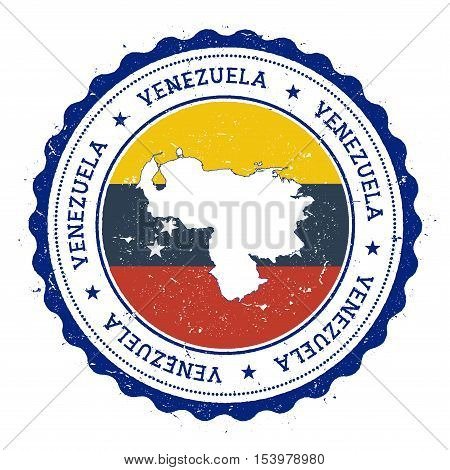 Venezuela, Bolivarian Republic Of Map And Flag In Vintage Rubber Stamp Of State Colours.. Grungy Tra