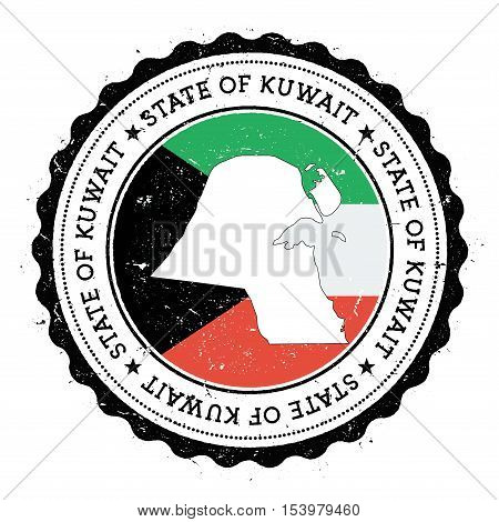 Kuwait Map And Flag In Vintage Rubber Stamp Of State Colours. Grungy Travel Stamp With Map And Flag