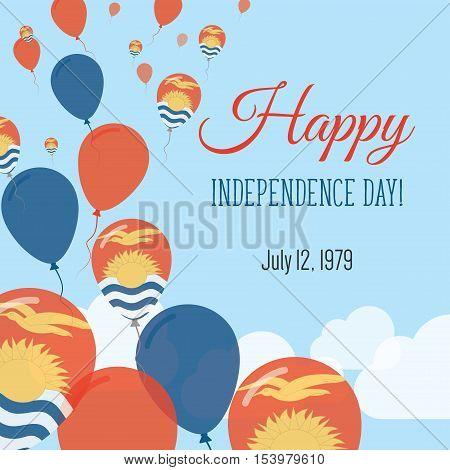 Independence Day Flat Greeting Card. Kiribati Independence Day. I-kiribati Flag Balloons Patriotic P
