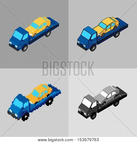 vector illustration. Set of icons of the tow truck of different styles - pixel monochrome colorful. Isometric 3D.