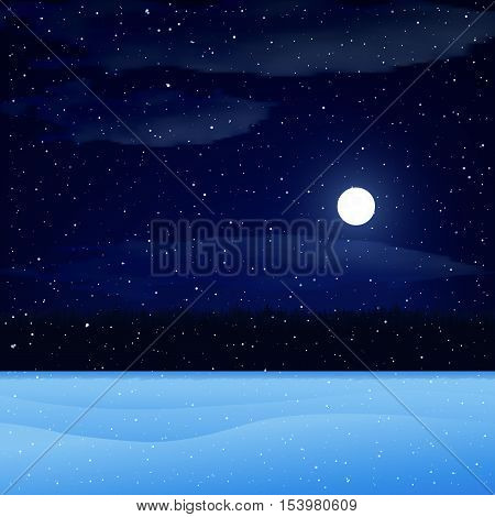 Vector illustration. Winter night landscape. Sky with clouds and the moon the snow-covered field forest snow. Christmas background.