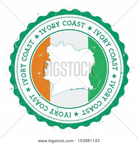 Cote D'ivoire Map And Flag In Vintage Rubber Stamp Of State Colours. Grungy Travel Stamp With Map An