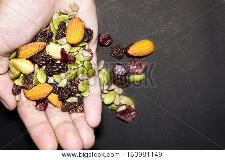 Trail Mix On The Hand.