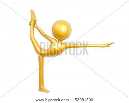 golden guy doing yoga balance pose isolated on white backgroud 3d illustration