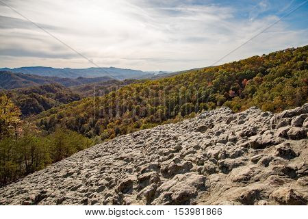 A fall view from Knobby Rock Overlook in Blanton Forest State Nature Preserve near Wallins Kentucky.