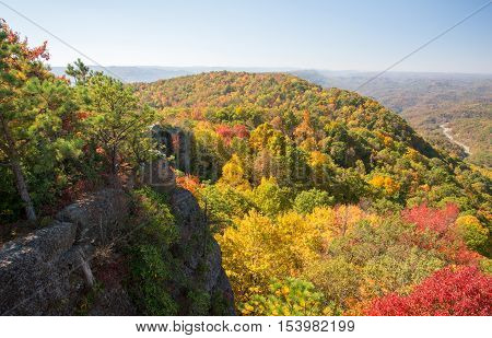 Early fall colors at High Rock atop Pine Mountain in Kentucky.
