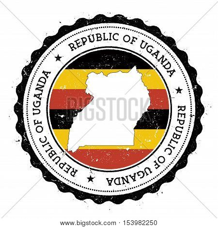 Uganda Map And Flag In Vintage Rubber Stamp Of State Colours. Grungy Travel Stamp With Map And Flag