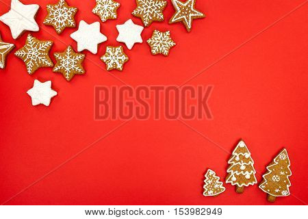 Holiday Background With Fir Trees And Snowflakes Shaped Christmas Gingerbreads