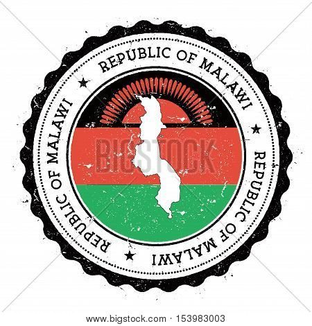 Malawi Map And Flag In Vintage Rubber Stamp Of State Colours. Grungy Travel Stamp With Map And Flag