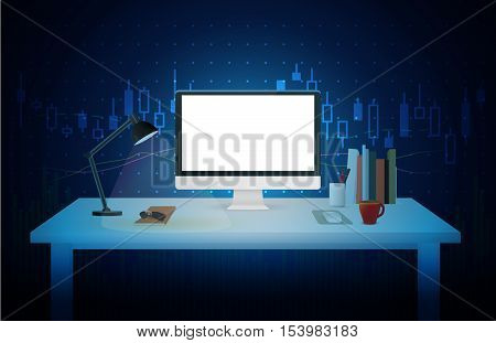Computer blank screen on work table with blue theme background about stock market concept. Ideal for mock up and other.