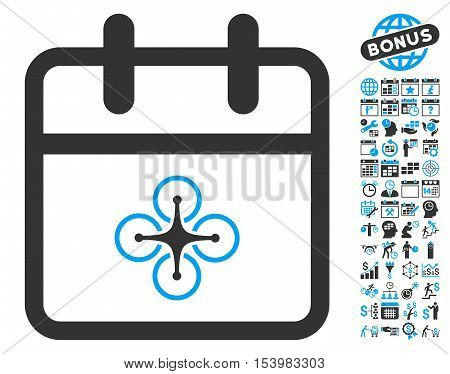 Drone Day pictograph with bonus calendar and time management graphic icons. Glyph illustration style is flat iconic bicolor symbols blue and gray colors white background.