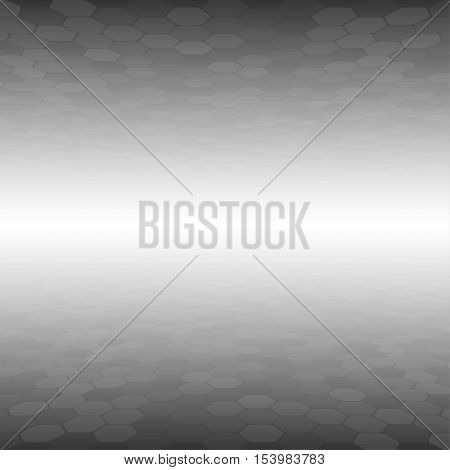 Mosaic Tile Honeycomb Vector Background. Perspective Comb Halftone Fone. Grey Background. Vector illustration for Web Design.