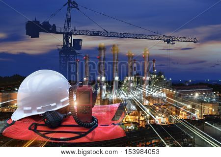 work outdoor wear safety equipment  at utility construction site . safety first concept .