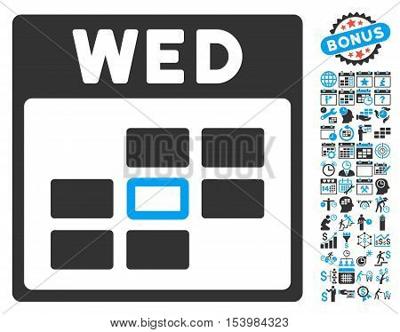Wednesday Calendar Page icon with bonus calendar and time management icon set. Glyph illustration style is flat iconic bicolor symbols blue and gray colors white background.