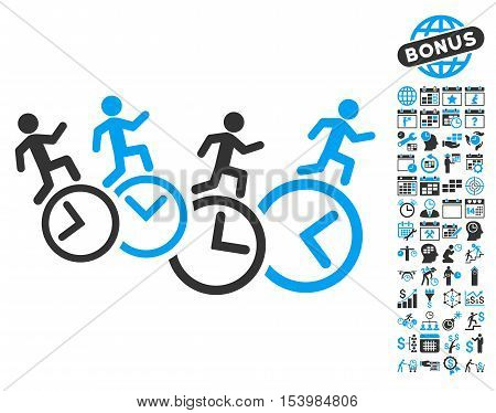 Men Running Over Clocks pictograph with bonus calendar and time management graphic icons. Glyph illustration style is flat iconic bicolor symbols blue and gray colors white background.