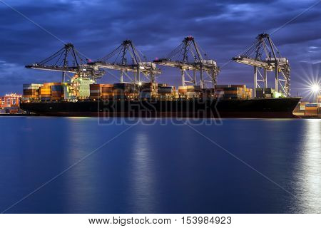 Transportation Logistic ,Container Cargo freight ship with working crane bridge in shipyard at dusk for Logistic Import Export