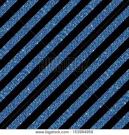 The parallel diagonal lines on the black background. Background made of blue sequins. Mosaic, sequins, glitter, sparkle, stars. Parallel.