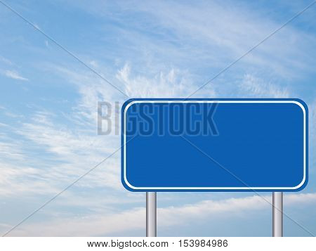 Blank blue transportaion sign with the blue sky background