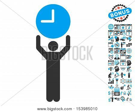 Time Manager pictograph with bonus calendar and time management pictogram. Glyph illustration style is flat iconic bicolor symbols, blue and gray colors, white background.