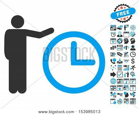 Time Show icon with bonus calendar and time management graphic icons. Glyph illustration style is flat iconic bicolor symbols, blue and gray colors, white background.