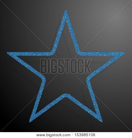 Frame made of Blue sequins in the form star. Mosaic sequins glitter sparkle stars.