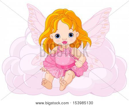 Illustration of cute baby fairy