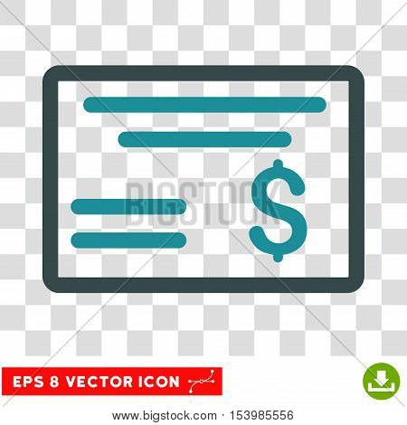 Dollar Cheque vector icon. Image style is a flat soft blue pictograph symbol.