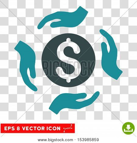 Money Care Hands vector icon. Image style is a flat soft blue pictogram symbol.