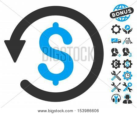 Chargeback pictograph with bonus tools images. Glyph illustration style is flat iconic bicolor symbols, blue and gray colors, white background.