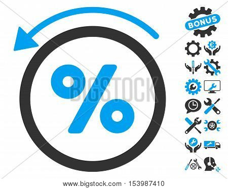 Rebate Percent icon with bonus tools symbols. Glyph illustration style is flat iconic bicolor symbols blue and gray colors white background.
