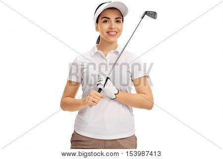 Joyful female golf player posing with a golf club isolated on white background